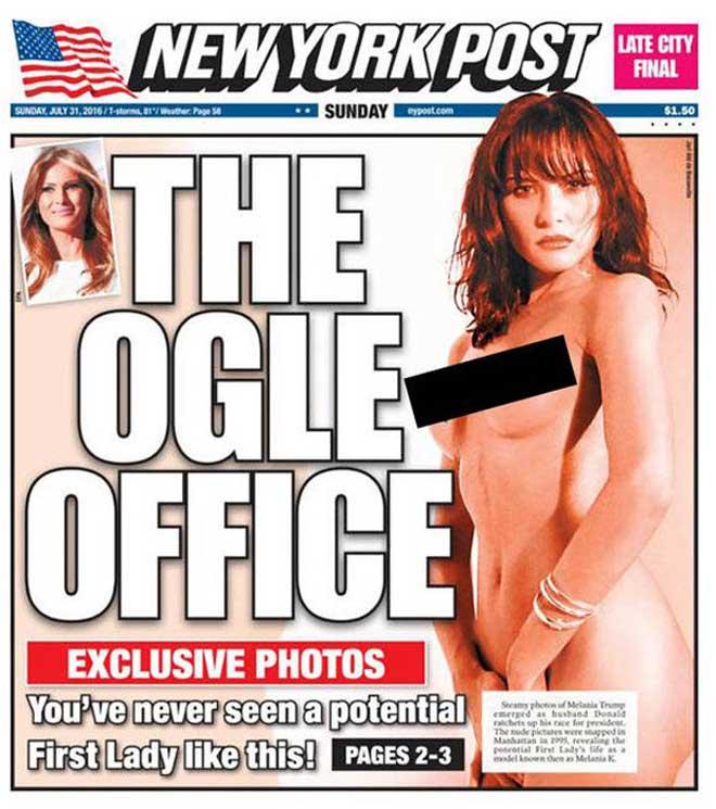 纽约邮报刊登川普娇妻裸照