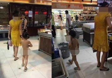 豪放母亲带着一丝不挂的小女儿逛商场引热议