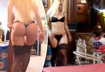 身着黑色T裤内衣出场,爆笑女服务员的恶作剧4