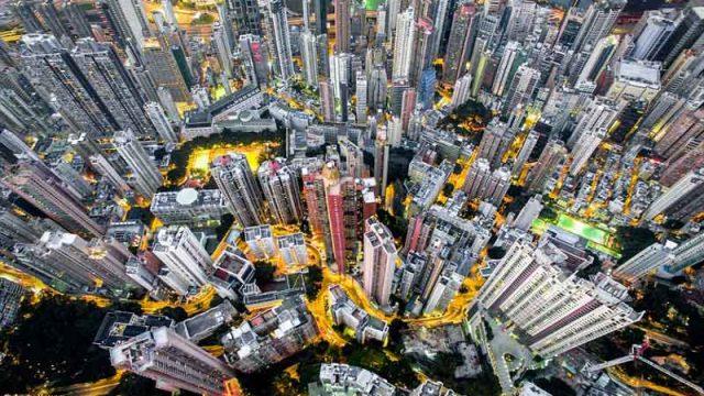 震撼的香港建筑群,真正的摩天大厦
